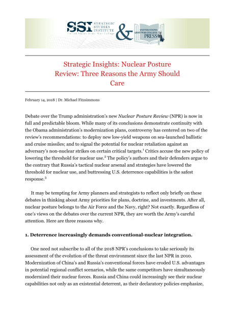 Usawc publications strategic insights nuclear posture review three reasons the army should care malvernweather Images