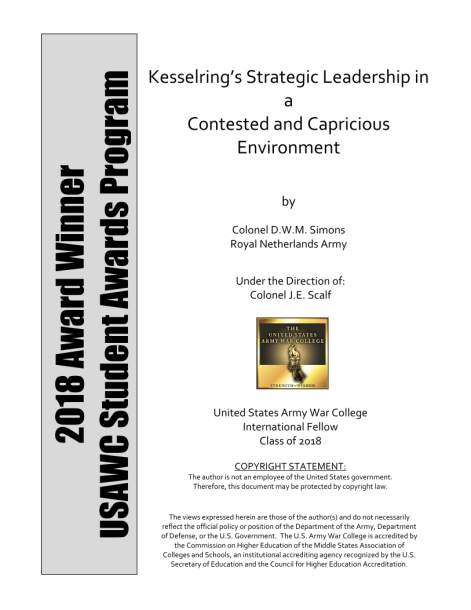 91a7016f826f80 Kesselring's Strategic Leadership in a Contested and Capricious Environment