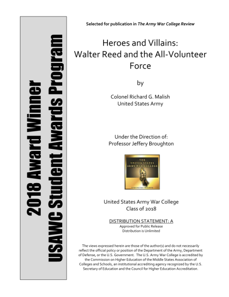 d8f01631f3d42 Heroes and Villains: Walter Reed and the All-Volunteer Force