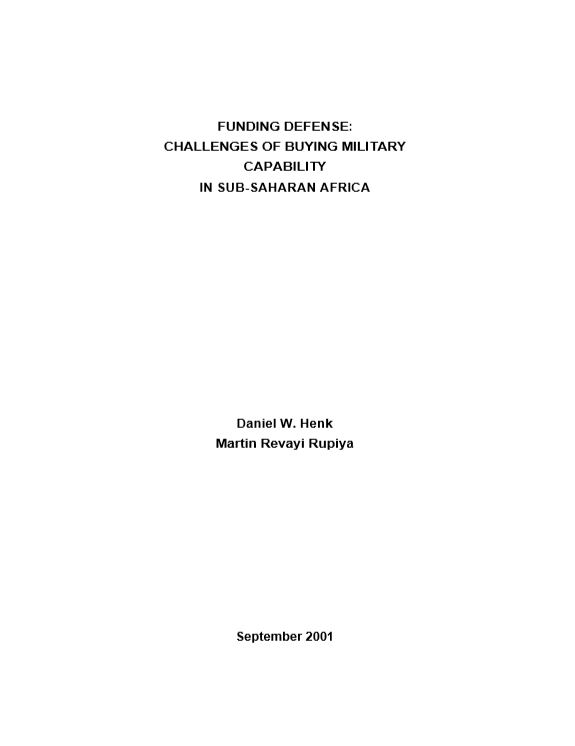 Funding Defense: Challenges of Buying Military Capability in Sub-Saharan Africa