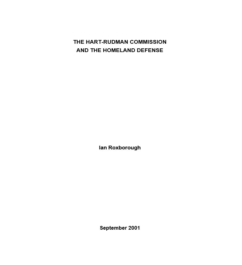 The Hart-Rudman Commission and the Homeland Defense
