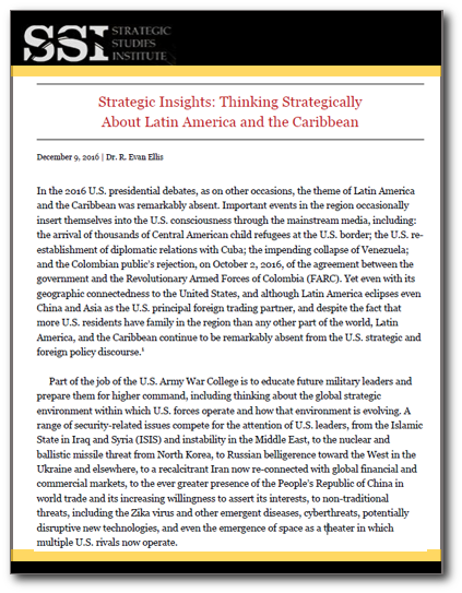 Strategic Insights: Thinking Strategically About Latin America and the Caribbean
