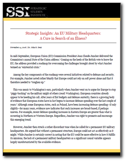 Strategic Insights: An EU Military Headquarters: A Cure in Search of an Illness?