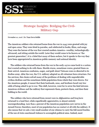 Strategic Insights: Bridging the Civil-Military Gap