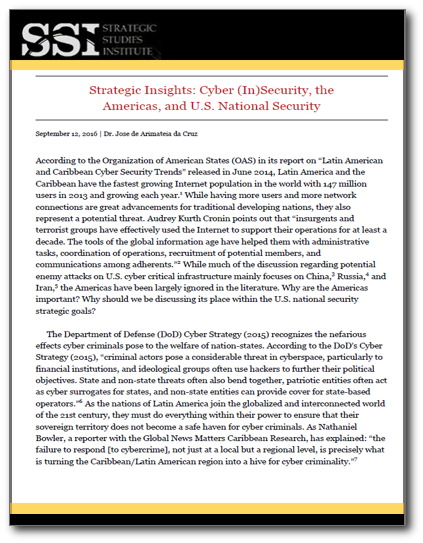 Strategic Insights: Cyber (In)Security, the Americas, and U.S. National Security