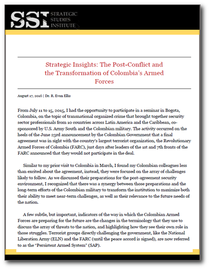 Strategic Insights: The Post-Conflict and the Transformation of Colombia's Armed Forces