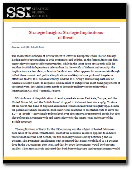 Strategic Insights: Strategic Implications of Brexit