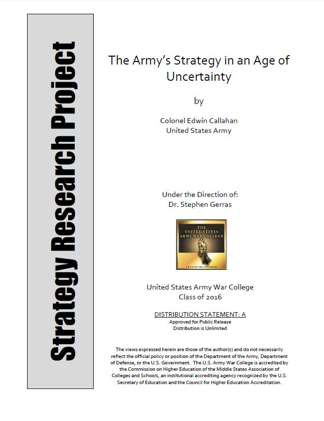 The Army's Strategy in an Age of Uncertainty