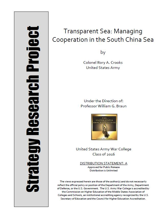 Transparent Sea: Managing Cooperation in the South China Sea