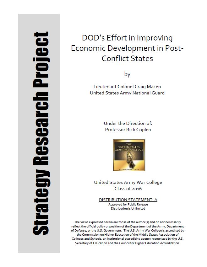 DOD's Effort in Improving Economic Development in Post-Conflict States