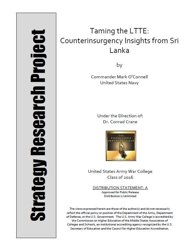 Taming the LTTE: Counterinsurgency Insights from Sri Lanka