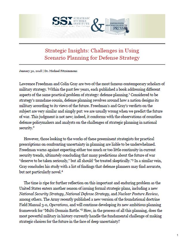 Strategic Insights: Challenges in Using Scenario Planning for Defense Strategy