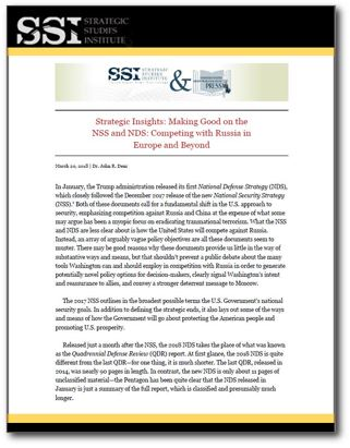 Strategic Insights: Making Good on the NSS and NDS: Competing with Russia in Europe and Beyond