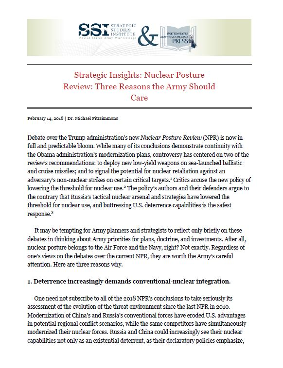Strategic Insights: Nuclear Posture Review: Three Reasons the Army Should Care