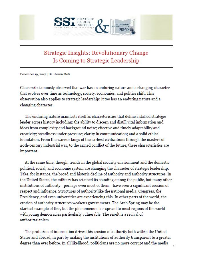Strategic Insights: Revolutionary Change Is Coming to Strategic Leadership